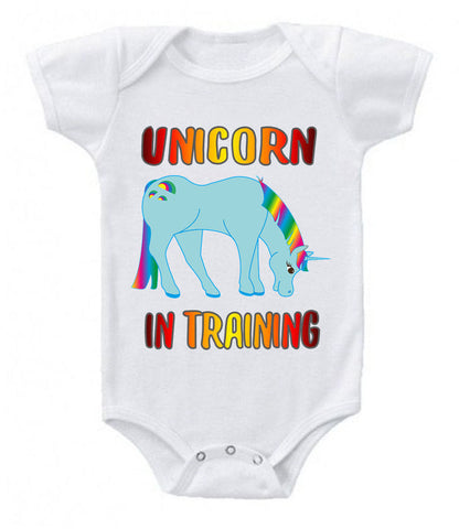 Unicorn In Training Funny Mystical Baby Bodysuit Onesie