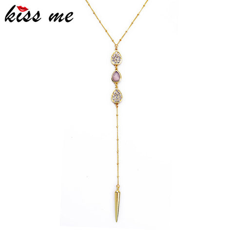Gold Color Rivet Pendant Necklace