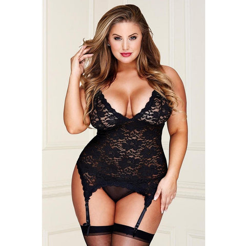 Black Floral Lace Bustier with G-String - ZAHRI