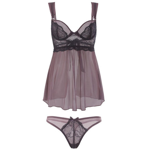 Holly Two-Piece Soft Cup Plum Babydoll and Panty - ZAHRI