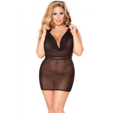 Sheer Black Mesh Cowl Neck Mini Dress - ZAHRI