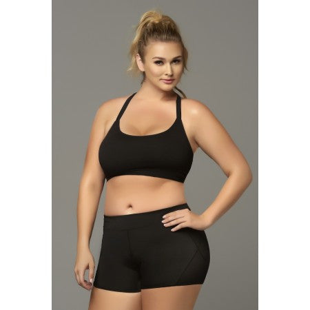Seamless Black Strappy Sports Bra