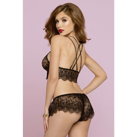 Crochet Black Lace Bralette and Short - ZAHRI
