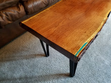 Texan Mesquite Coffee Table With Turquoise Inlay and Live Edge