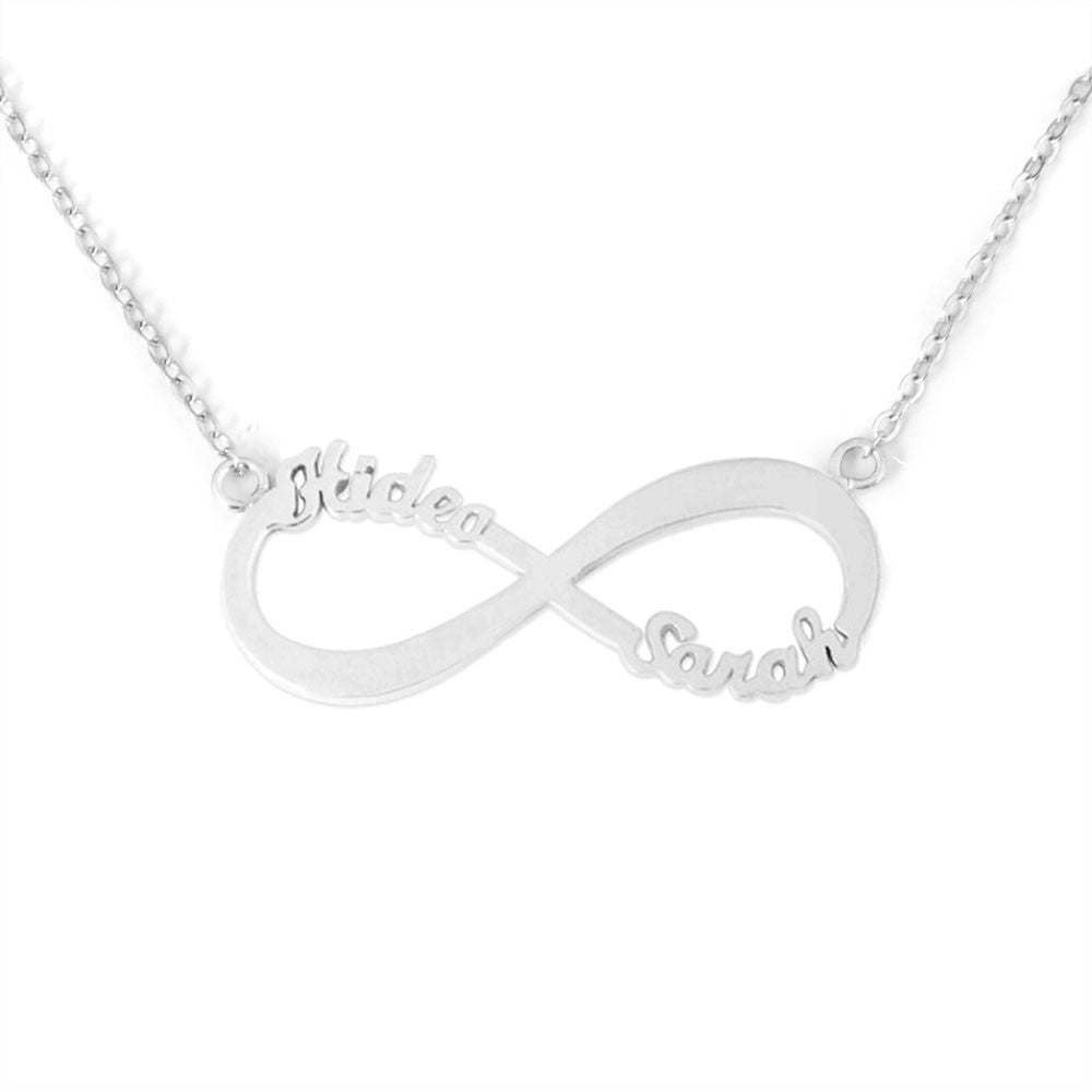 sterling infinity two with silver names necklace name personalised