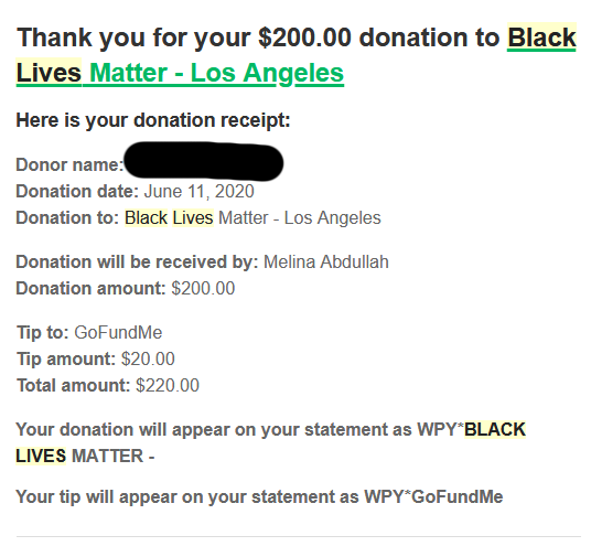 BLM DONATION RECEIPTS
