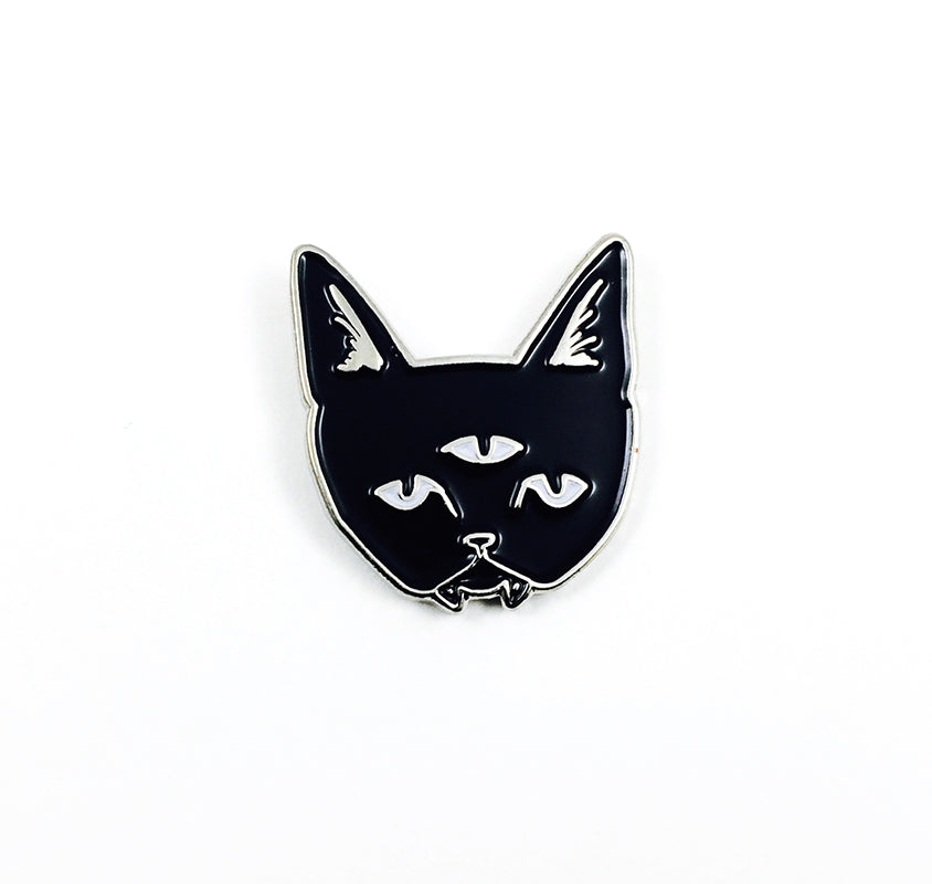 THREE EYED CAT black - glow in the dark pin