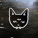 THREE EYED CAT glossy vinyl sticker