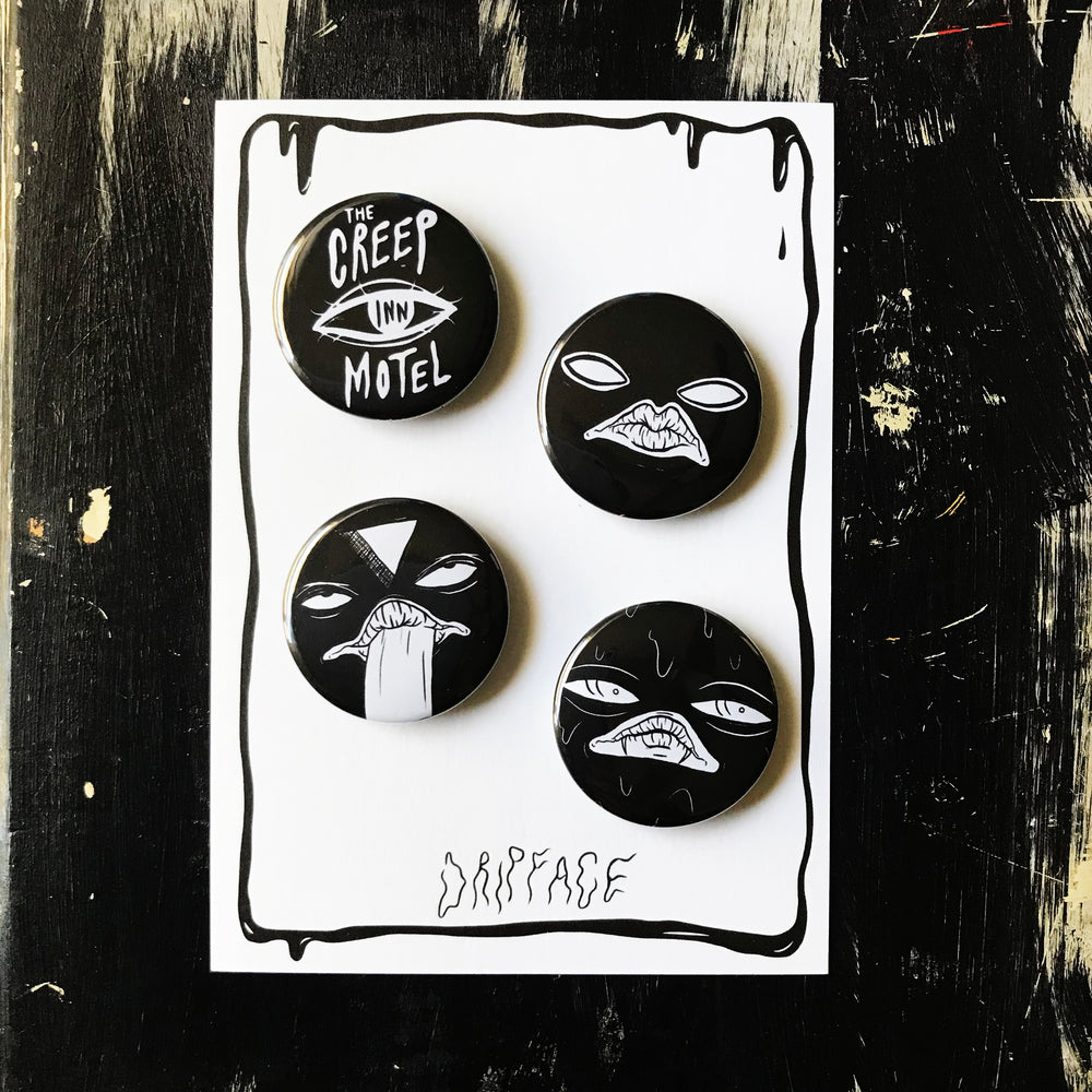 THE MOTEL CREEPS button set