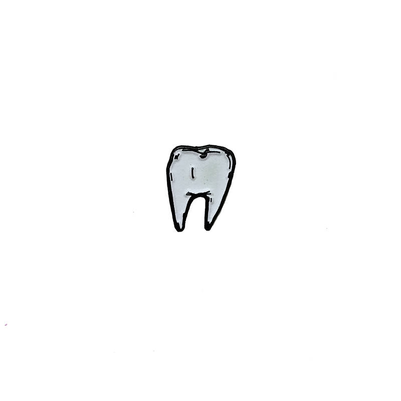 TOOTH glow in the dark - tiny enamel pin