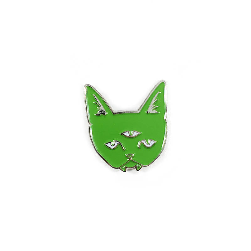 THREE EYED CAT green - glow in the dark enamel pin