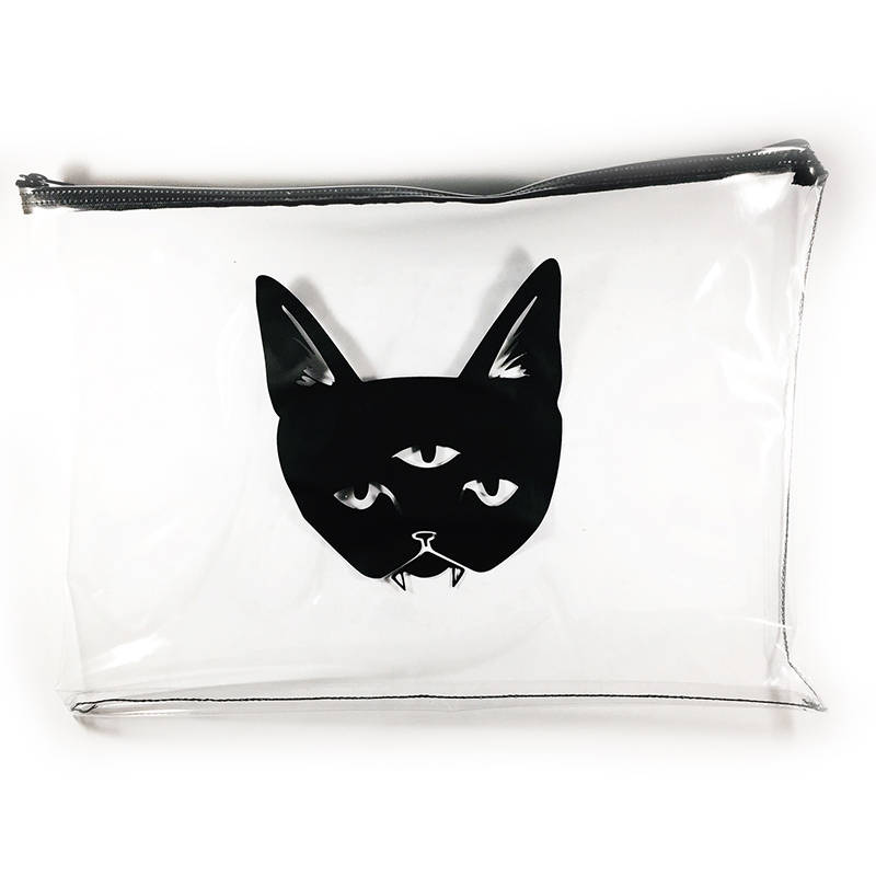 THREE EYED CAT large zippered bag - clear bag
