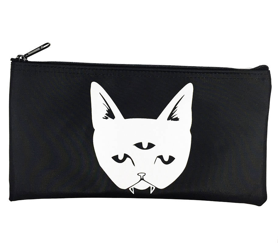 FLAWED Three Eyed Cat zippered pouch - black bag