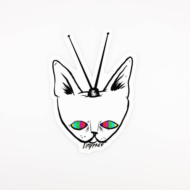 TV CAT vinyl sticker