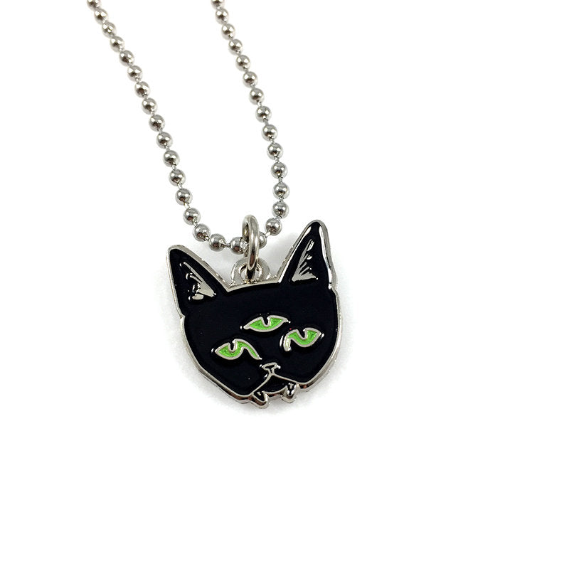 THREE EYED CAT ball chain necklace - glow in the dark eyes