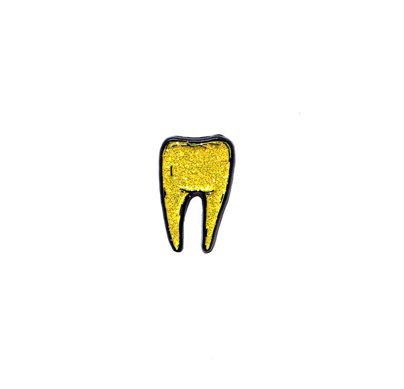 TOOTH #2 gold glitter - tiny enamel pin