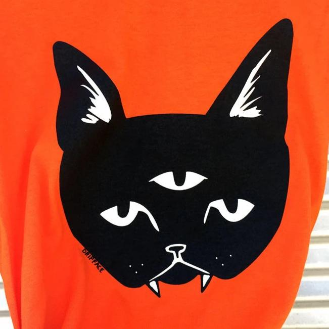 THREE EYED CAT orange shirt - unisex tee