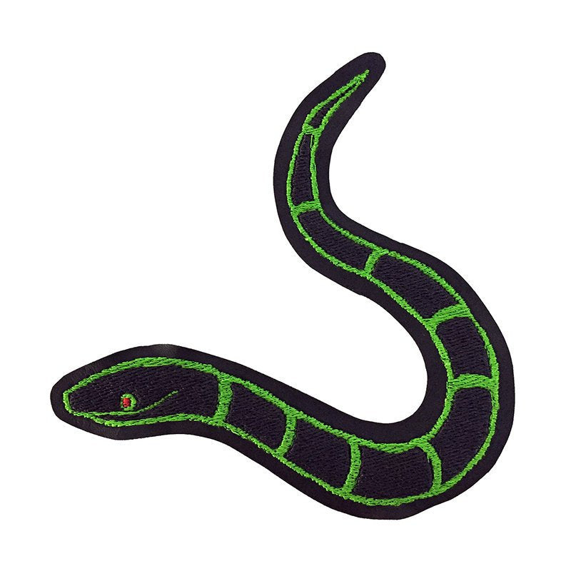 SLITHERY black & green - embroidered patch