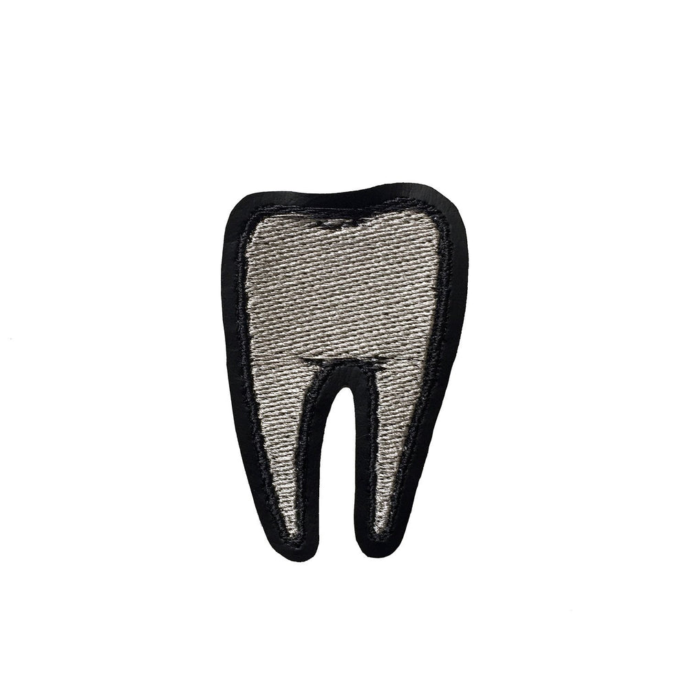 TOOTH #2 silver - embroidered patch
