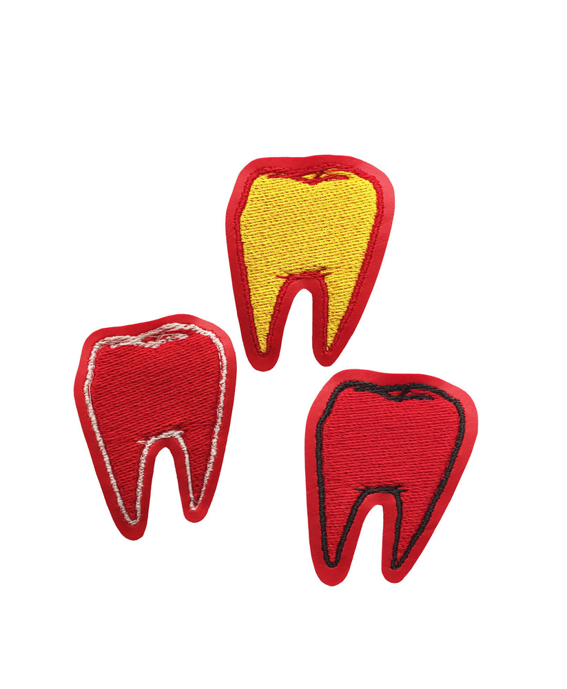 TOOTH #1 red vinyl embroidered patch - you choose color