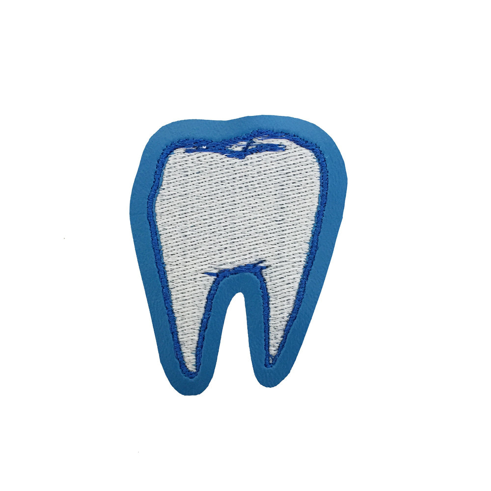 TOOTH blue glow in the dark - embroidered patch