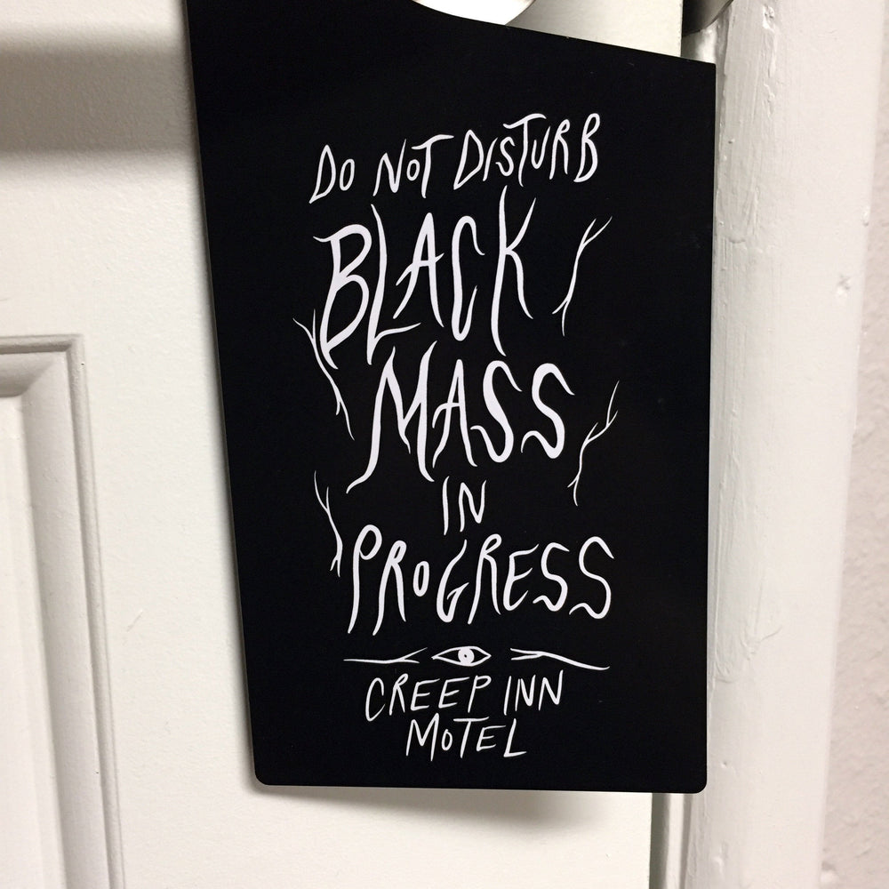 CREEP INN MOTEL door hanger - black mass & satanic orgy
