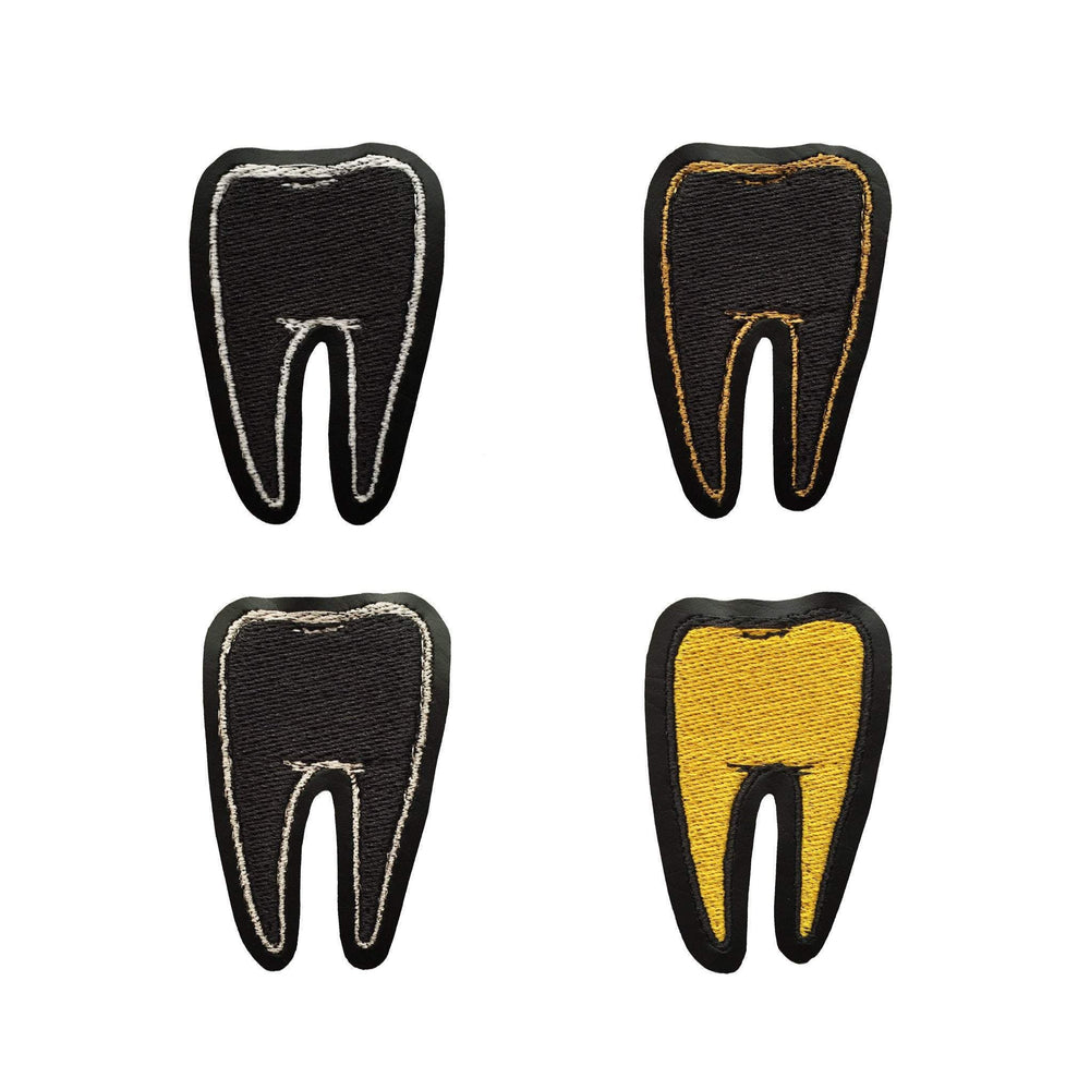 TOOTH #2 black vinyl embroidered patch - you choose color