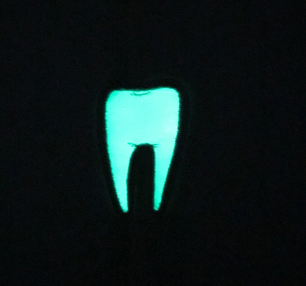 TOOTH #2 green glow in the dark - embroidered patch