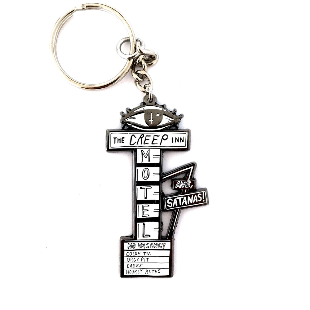 The CREEP INN MOTEL Sign - metal keychain