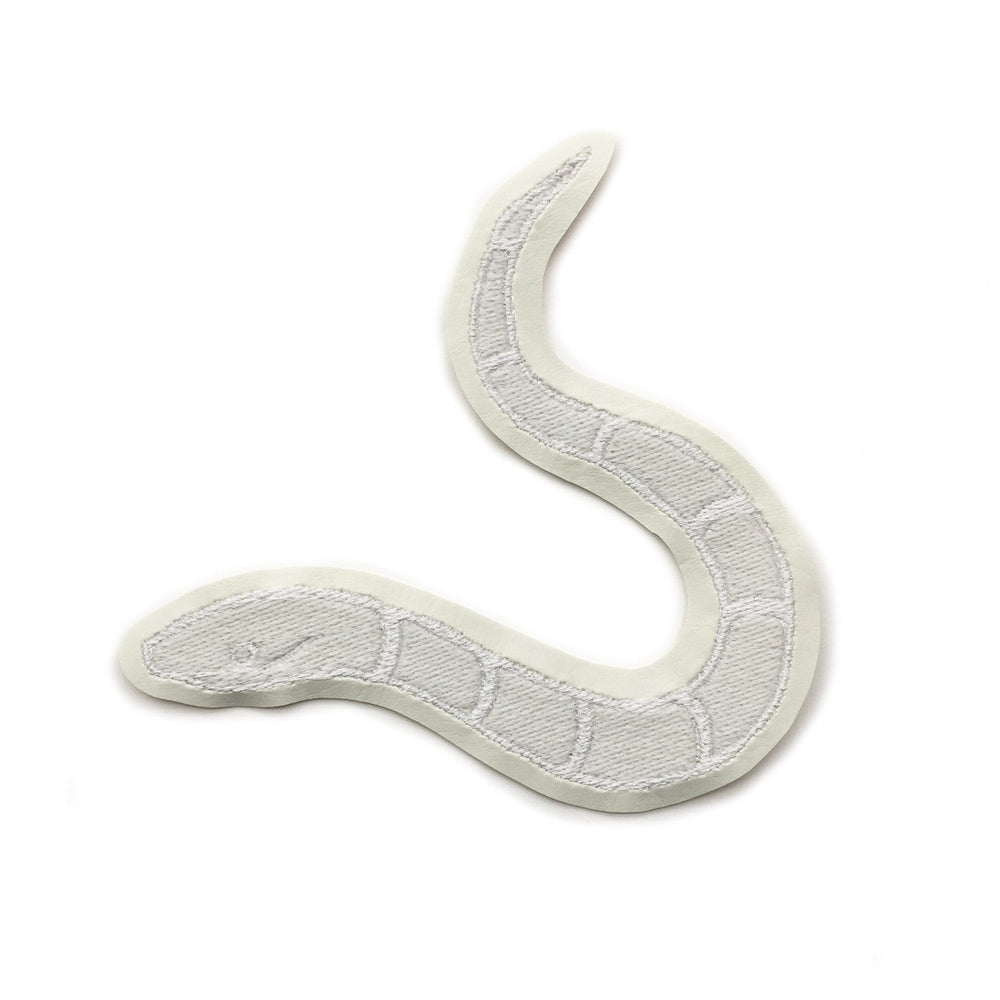 SLITHERY white on white - glow in the dark embroidered patch