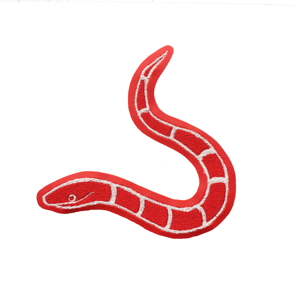 SLITHERY red with glow in the dark - embroidered patch