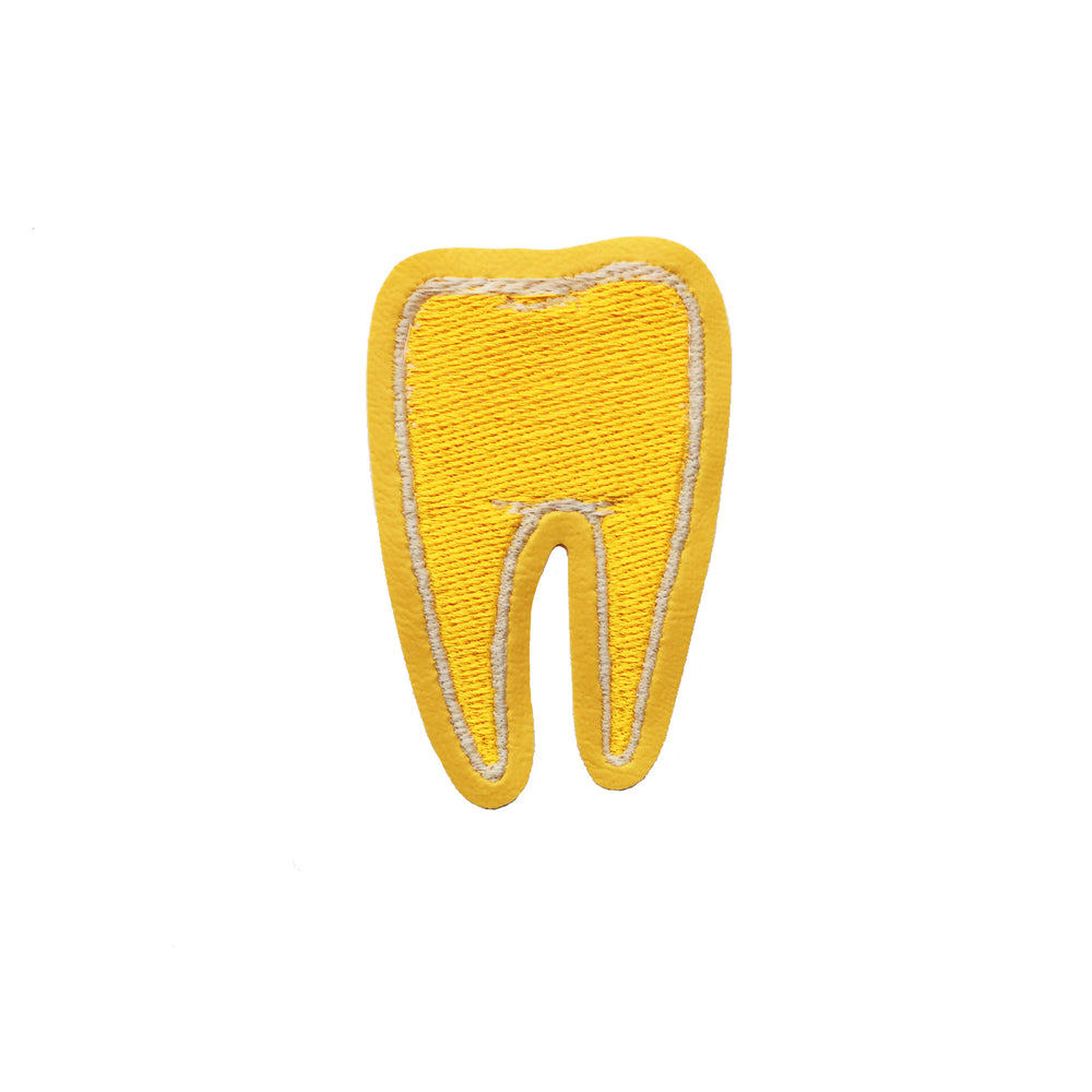 TOOTH #2 yellow glow in the dark - embroidered patch