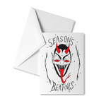 SEASON'S BEATINGS holiday card & envelope