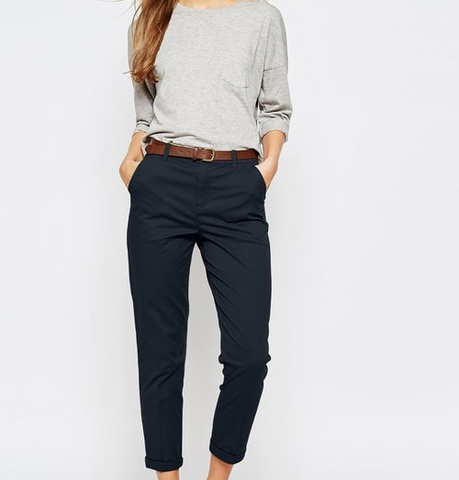 Chino trousers and sneakers for work