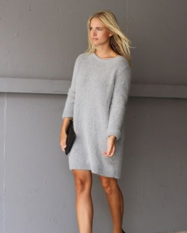 Long sleeved dress and sneakers for work