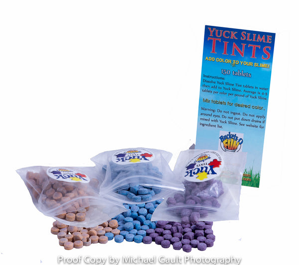 Yuck Slime Color Tablets-Yuck Tints-Red, Blue, Yellow