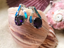 Blue Opal & Amethyst Oval Shaped Earrings in .925 Sterling Silver