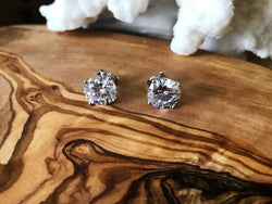 Cubic Zirconia Stud Earrings in .925 Sterling Silver