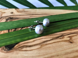 Sterling Silver Fresh Water Pearl Stud Post Earrings for Pierced Ears - Grey