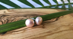 Sterling Silver Fresh Water Pearl Stud Post Earrings for Pierced Ears - Blush