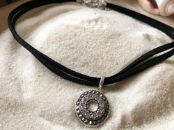 2-Strand Velvet Choker with Marcasite & Cubic Zirconia Pendant in. 925 Sterling Silver