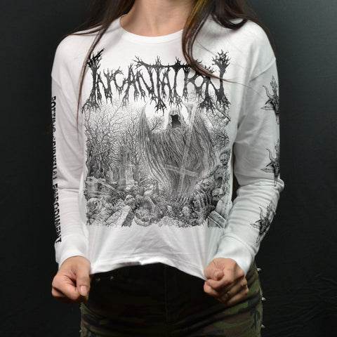 INCANTATION - Rotting Spiritual Embodiment (WHITE Long Sleeve Crop)