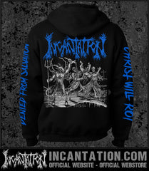 Incantation - Blasphemous Cremation (Blue) [Zipup Hooded Sweatshirt]