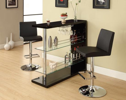 COASTER 100165 Black High Gloss Bar with 2 Glass Shelves