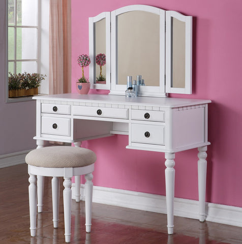 F4074 Vanity Set with Mirror and Stool
