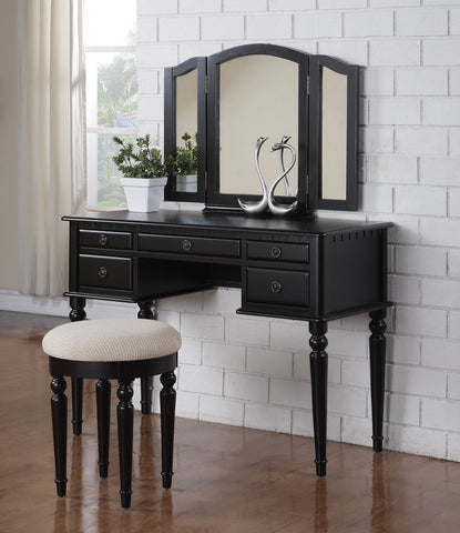 F4072 Black 5-Drawer Vanity Set with Stool