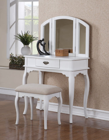 F4069 White Vanity Set with Stool