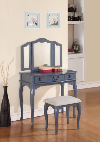 F4091 Blue Grey Vanity Set Stool Mirror
