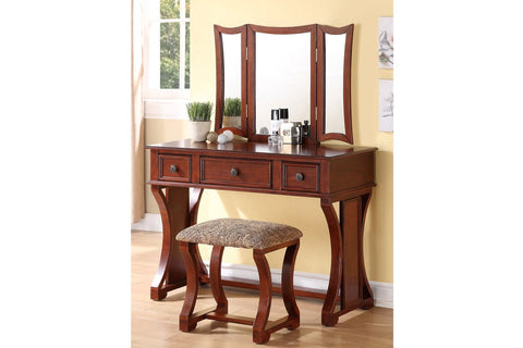 F4118 Vanity Set Stool Mirror 3-Drawer
