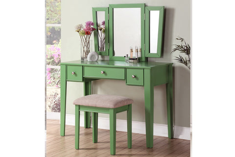 F4108 Wood Vanity Set Stool Mirror 3-Drawer